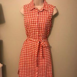 Orange Check Shirt Dress
